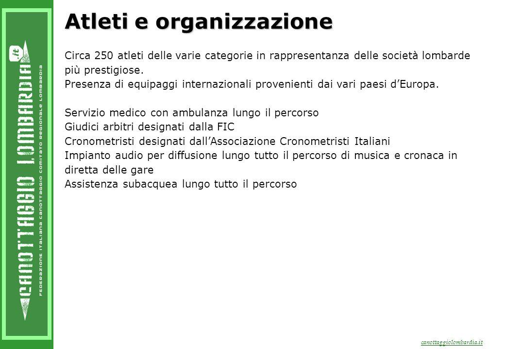 canottaggiolombardia.it Atleti e organizzazione Circa 250 atleti delle varie categorie in rappresentanza delle società lombarde più prestigiose.
