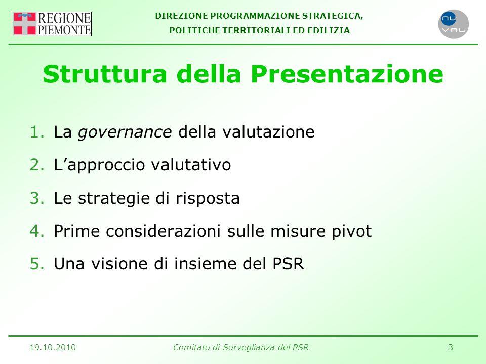 DIREZIONE PROGRAMMAZIONE STRATEGICA, POLITICHE TERRITORIALI ED EDILIZIA 19.10.2010Comitato di Sorveglianza del PSR33 Struttura della Presentazione 1.La governance della valutazione 2.L'approccio valutativo 3.Le strategie di risposta 4.Prime considerazioni sulle misure pivot 5.Una visione di insieme del PSR