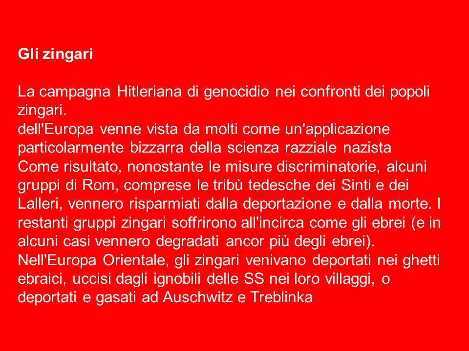 Gli zingari La campagna Hitleriana di genocidio nei confronti dei popoli zingari. dell'Europa venne vista da molti come un'applicazione particolarment