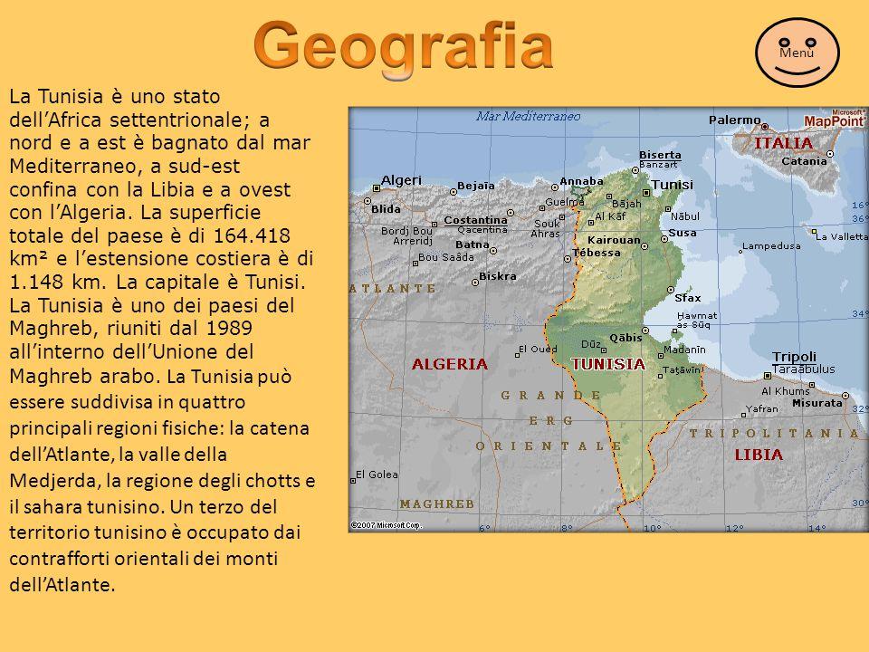 La Tunisia è uno stato dell'Africa settentrionale; a nord e a est è bagnato dal mar Mediterraneo, a sud-est confina con la Libia e a ovest con l'Alger