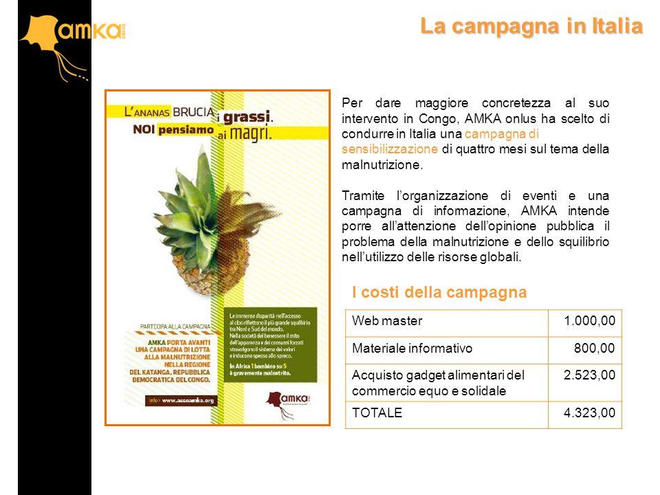 La campagna in Italia Per dare maggiore concretezza al suo intervento in Congo, AMKA onlus ha scelto di condurre in Italia una campagna di sensibilizzazione di quattro mesi sul tema della malnutrizione.