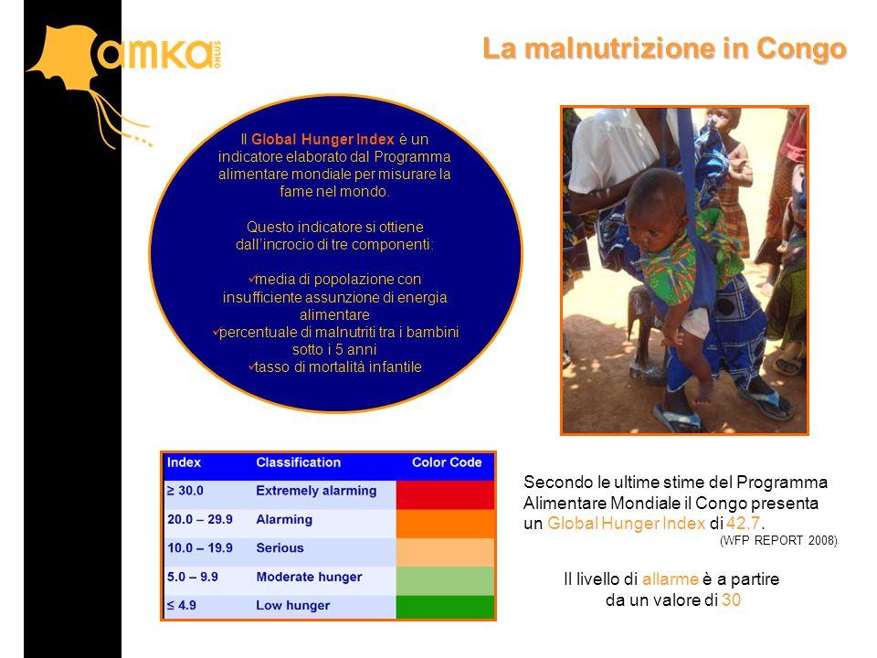 La malnutrizione in Congo Secondo le ultime stime del Programma Alimentare Mondiale il Congo presenta un Global Hunger Index di 42,7.