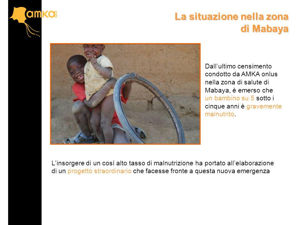 Dall'ultimo censimento condotto da AMKA onlus nella zona di salute di Mabaya, è emerso che un bambino su 5 sotto i cinque anni è gravemente malnutrito.
