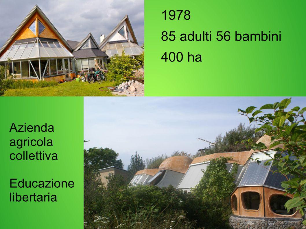 1978 85 adulti 56 bambini 400 ha Azienda agricola collettiva Educazione libertaria