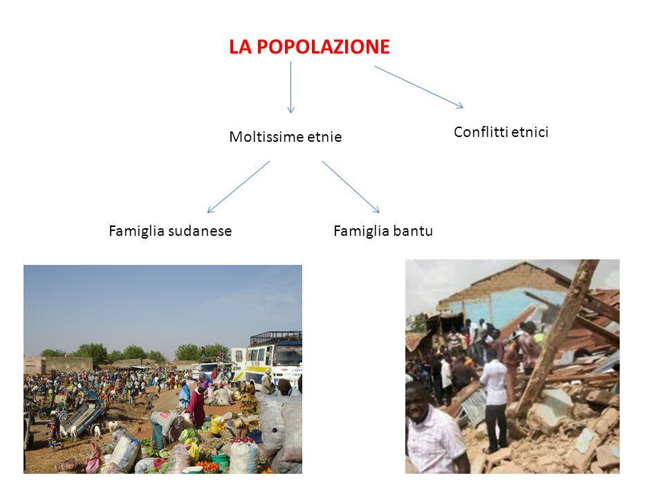 LA POPOLAZIONE Moltissime etnie Famiglia sudaneseFamiglia bantu Conflitti etnici