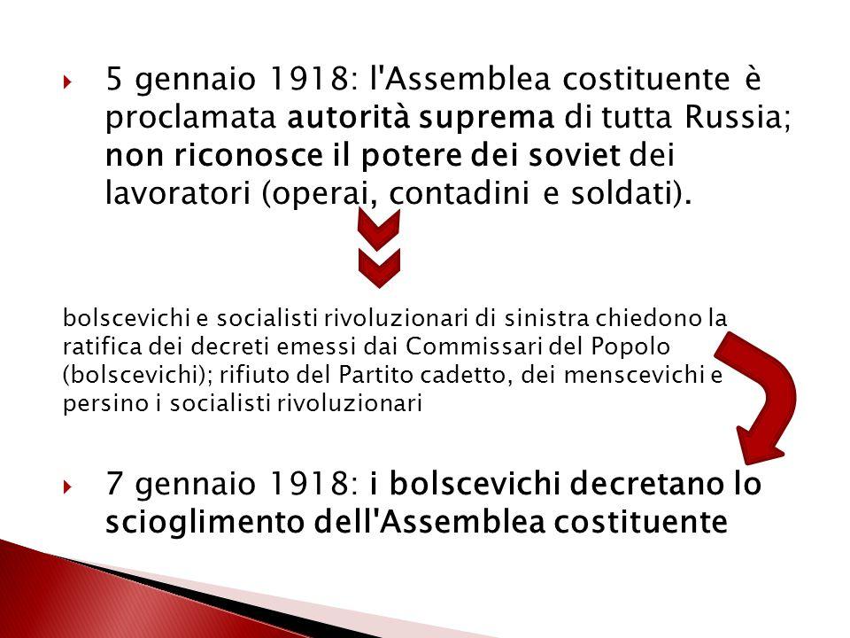  5 gennaio 1918: l'Assemblea costituente è proclamata autorità suprema di tutta Russia; non riconosce il potere dei soviet dei lavoratori (operai, co