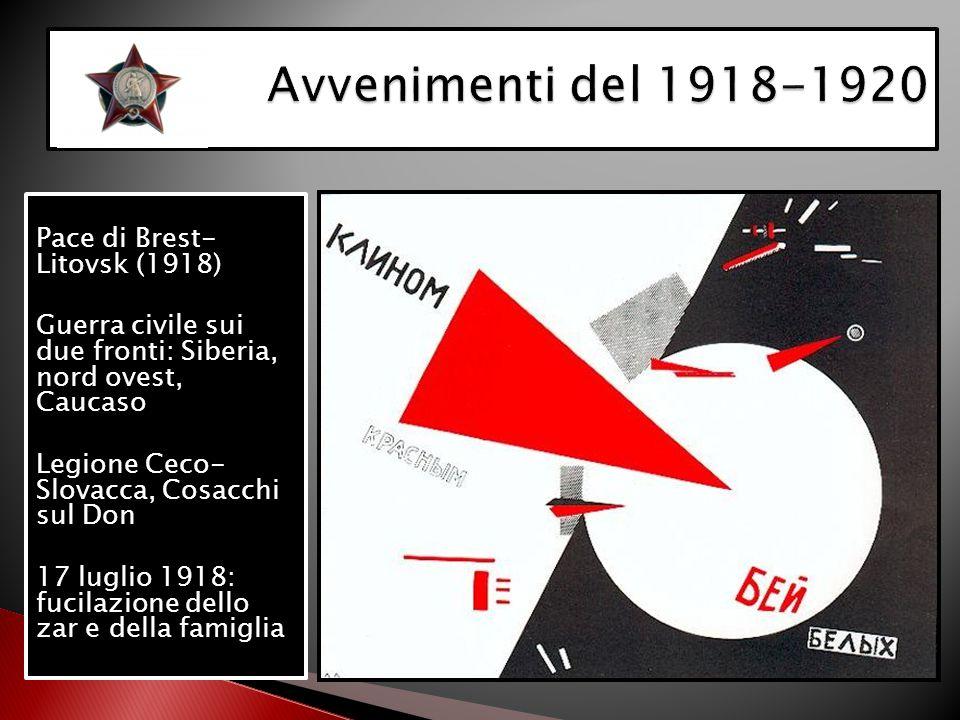Pace di Brest- Litovsk (1918) Guerra civile sui due fronti: Siberia, nord ovest, Caucaso Legione Ceco- Slovacca, Cosacchi sul Don 17 luglio 1918: fuci