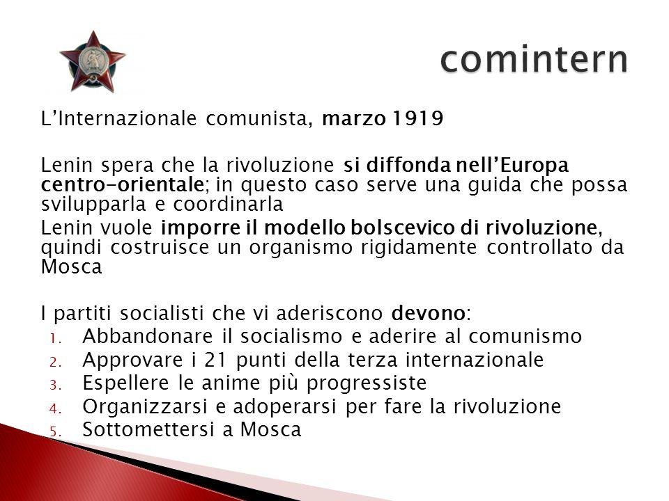 L'Internazionale comunista, marzo 1919 Lenin spera che la rivoluzione si diffonda nell'Europa centro-orientale; in questo caso serve una guida che pos