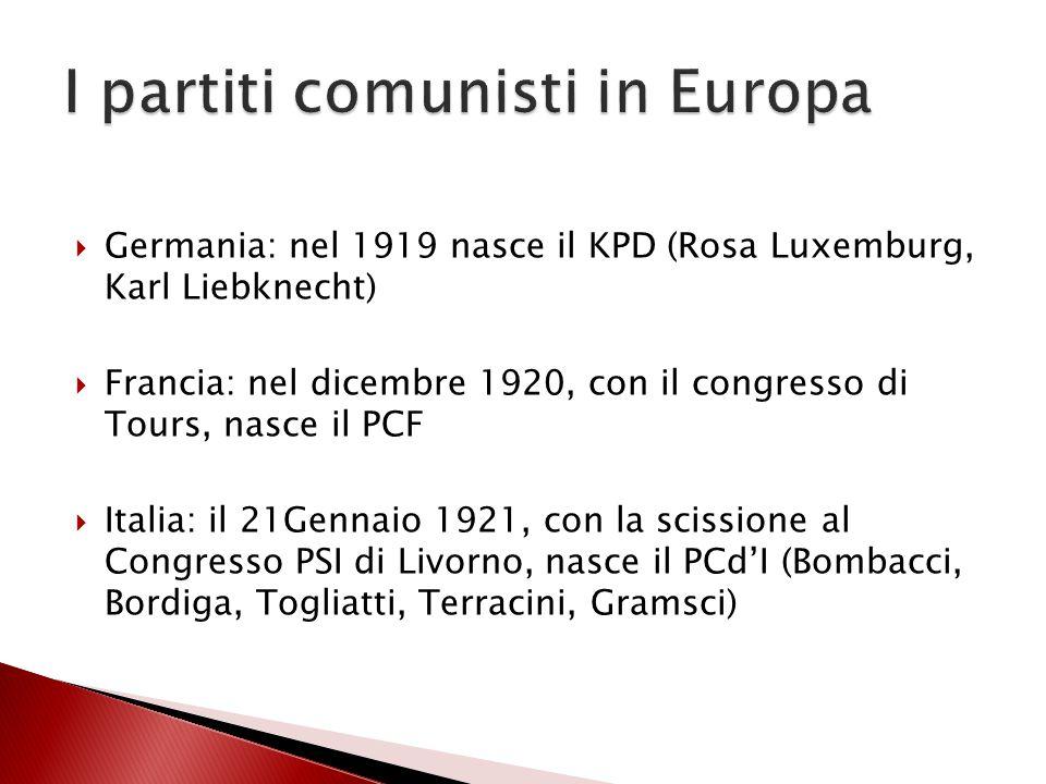  Germania: nel 1919 nasce il KPD (Rosa Luxemburg, Karl Liebknecht)  Francia: nel dicembre 1920, con il congresso di Tours, nasce il PCF  Italia: il