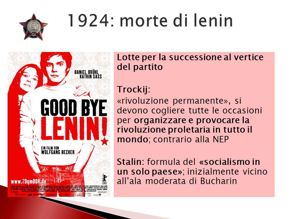 1924: morte di lenin Lotte per la successione al vertice del partito Trockij: «rivoluzione permanente», si devono cogliere tutte le occasioni per orga