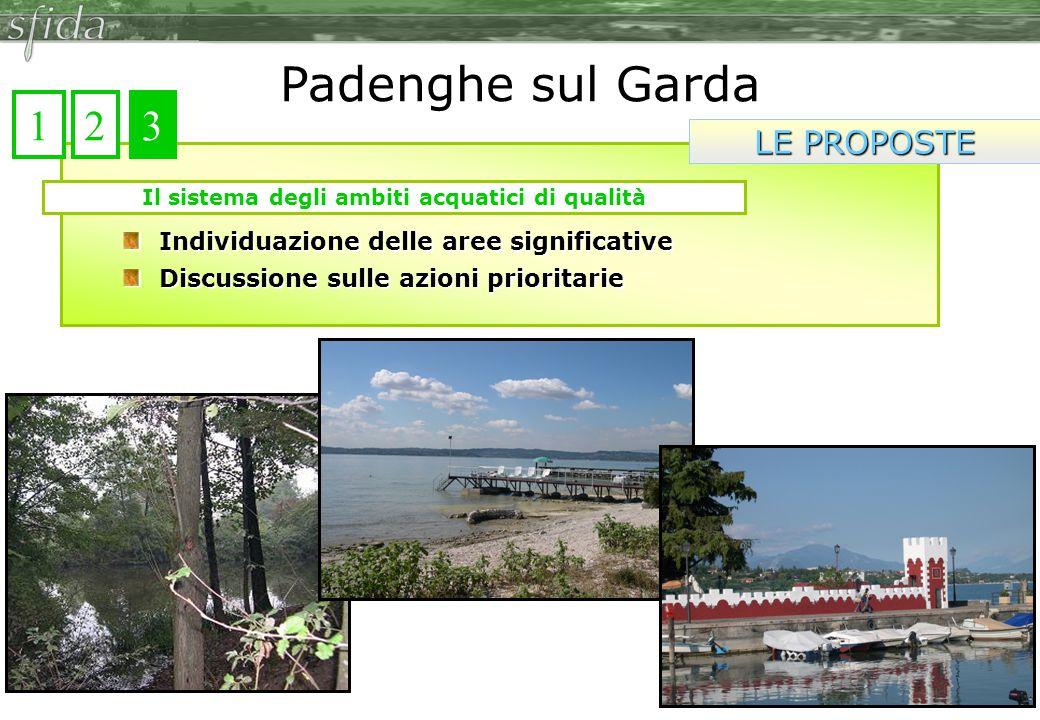 Individuazione delle aree significative Discussione sulle azioni prioritarie Il sistema degli ambiti acquatici di qualità Padenghe sul Garda LE PROPOSTE 123