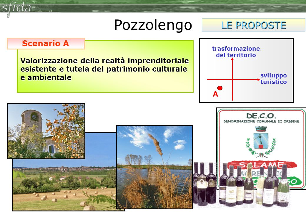 Valorizzazione della realtà imprenditoriale esistente e tutela del patrimonio culturale e ambientale Scenario A Pozzolengo LE PROPOSTE A trasformazione del territorio sviluppo turistico