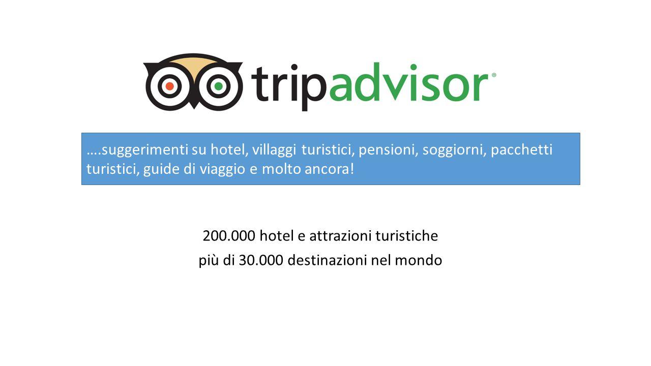 200.000 hotel e attrazioni turistiche più di 30.000 destinazioni nel mondo ….suggerimenti su hotel, villaggi turistici, pensioni, soggiorni, pacchetti turistici, guide di viaggio e molto ancora!