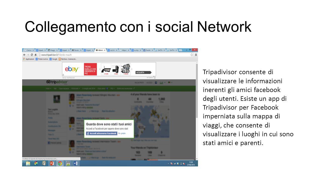 Collegamento con i social Network Tripadivisor consente di visualizzare le informazioni inerenti gli amici facebook degli utenti. Esiste un app di Tri