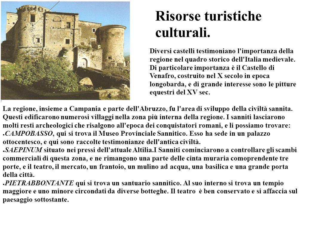 Risorse turistiche culturali. Diversi castelli testimoniano l'importanza della regione nel quadro storico dell'Italia medievale. Di particolare import
