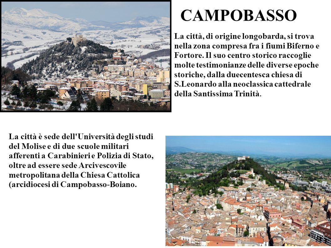 CAMPOBASSO La città è sede dell'Università degli studi del Molise e di due scuole militari afferenti a Carabinieri e Polizia di Stato, oltre ad essere