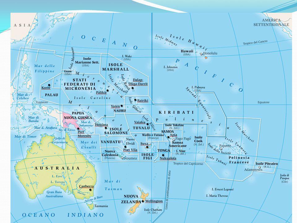 Territorio Il più piccolo dei continenti, quasi tutto al di sotto dell'Equatore.