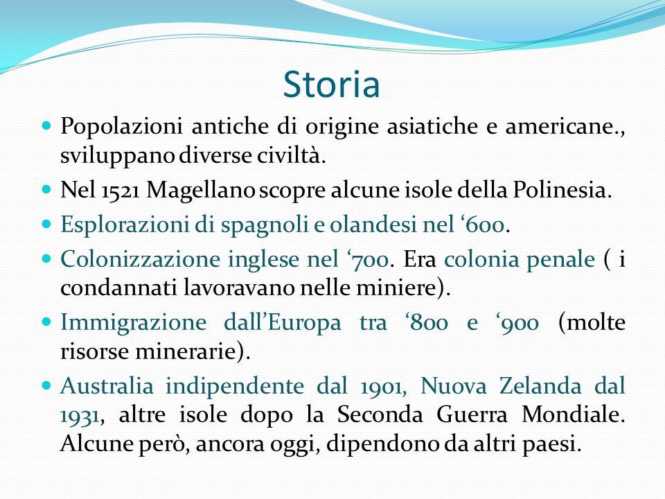 Storia Popolazioni antiche di origine asiatiche e americane., sviluppano diverse civiltà.