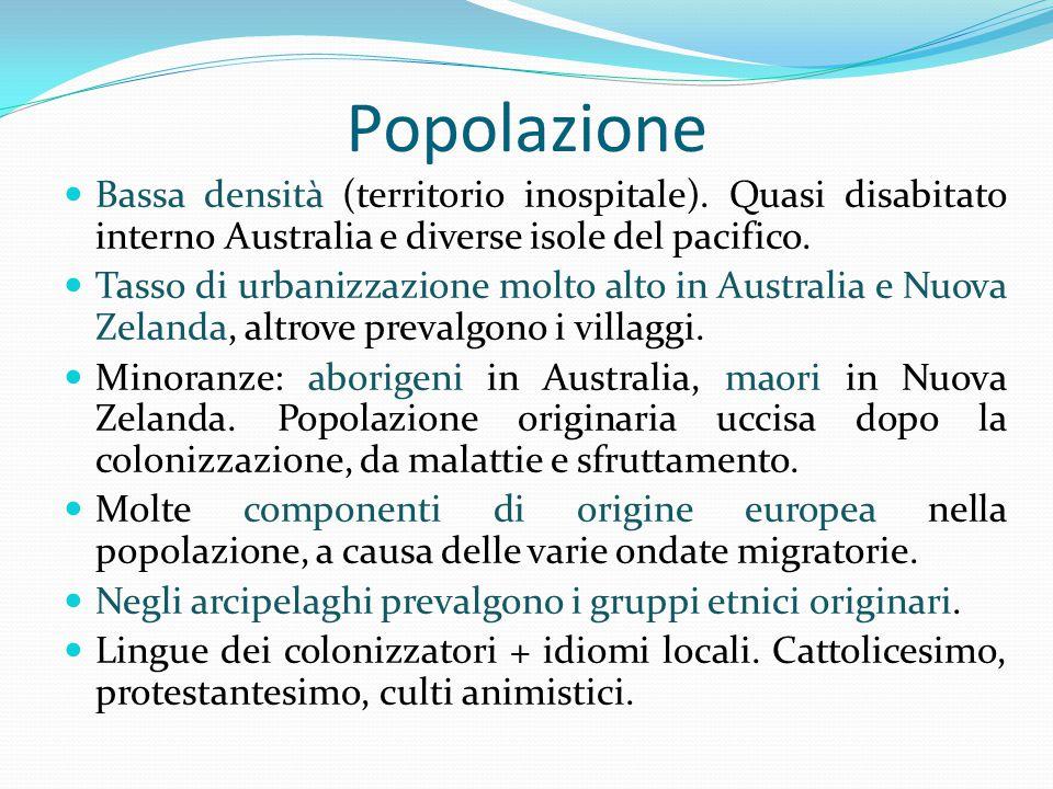 Popolazione Bassa densità (territorio inospitale).
