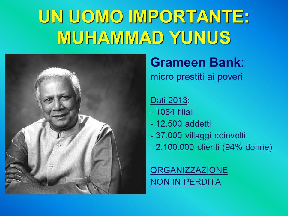 UN UOMO IMPORTANTE: MUHAMMAD YUNUS Grameen Bank: micro prestiti ai poveri Dati 2013: - 1084 filiali - 12.500 addetti - 37.000 villaggi coinvolti - 2.1