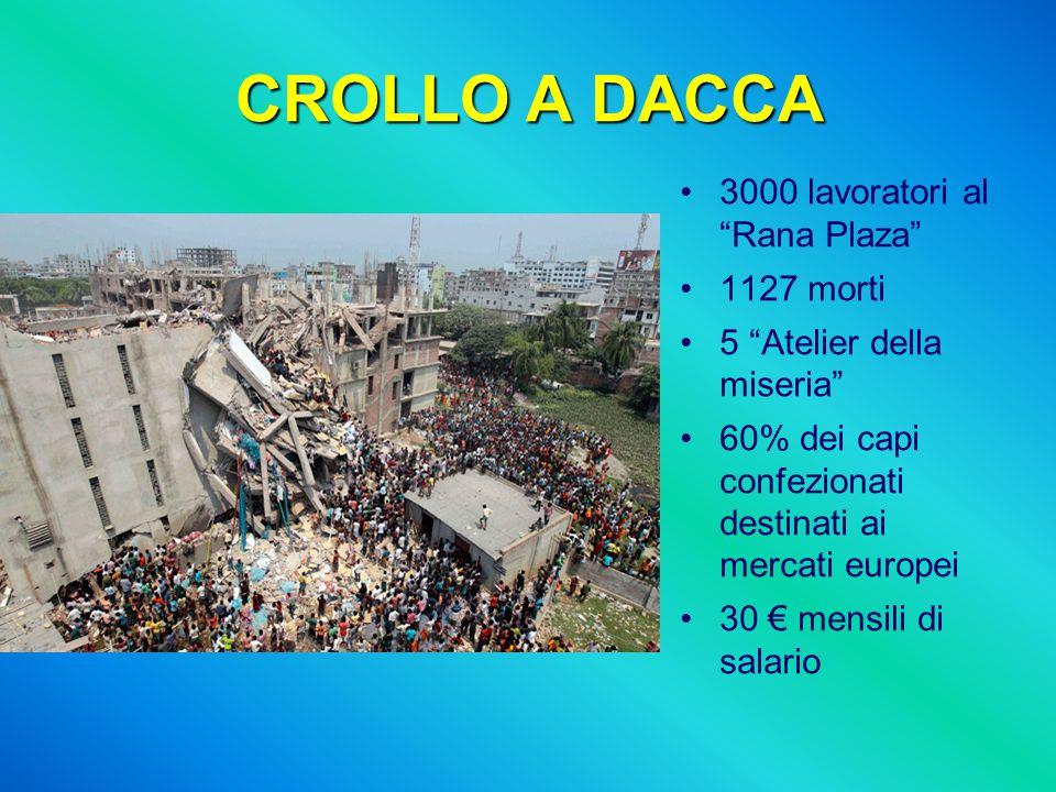 """CROLLO A DACCA 3000 lavoratori al """"Rana Plaza"""" 1127 morti 5 """"Atelier della miseria"""" 60% dei capi confezionati destinati ai mercati europei 30 € mensil"""