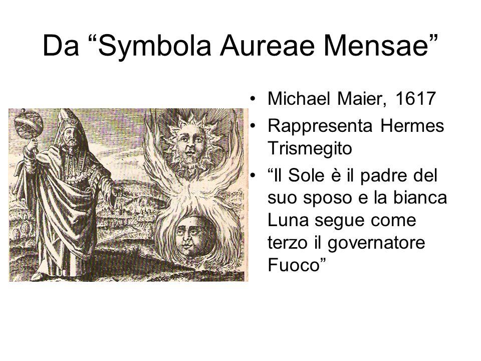 Da Symbola Aureae Mensae Michael Maier, 1617 Rappresenta Hermes Trismegito Il Sole è il padre del suo sposo e la bianca Luna segue come terzo il governatore Fuoco