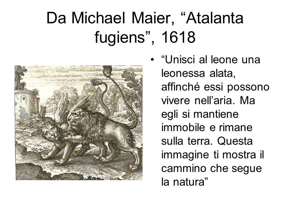 Da Michael Maier, Atalanta fugiens , 1618 Unisci al leone una leonessa alata, affinché essi possono vivere nell'aria.