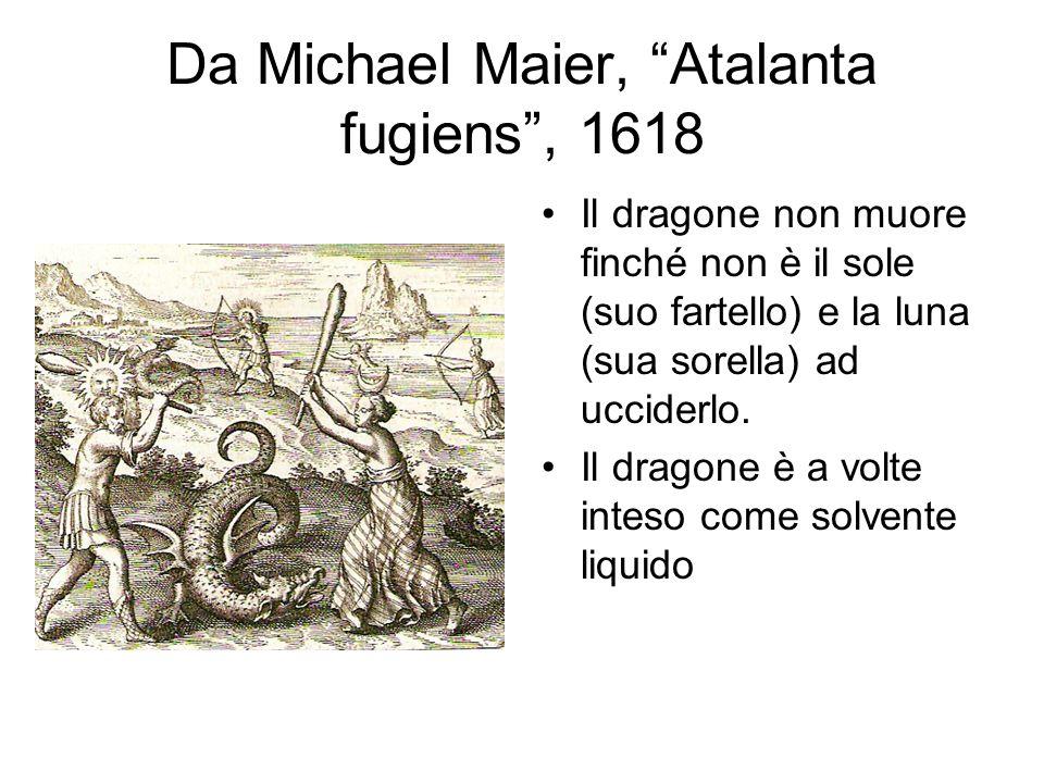 Da Michael Maier, Atalanta fugiens , 1618 Il dragone non muore finché non è il sole (suo fartello) e la luna (sua sorella) ad ucciderlo.