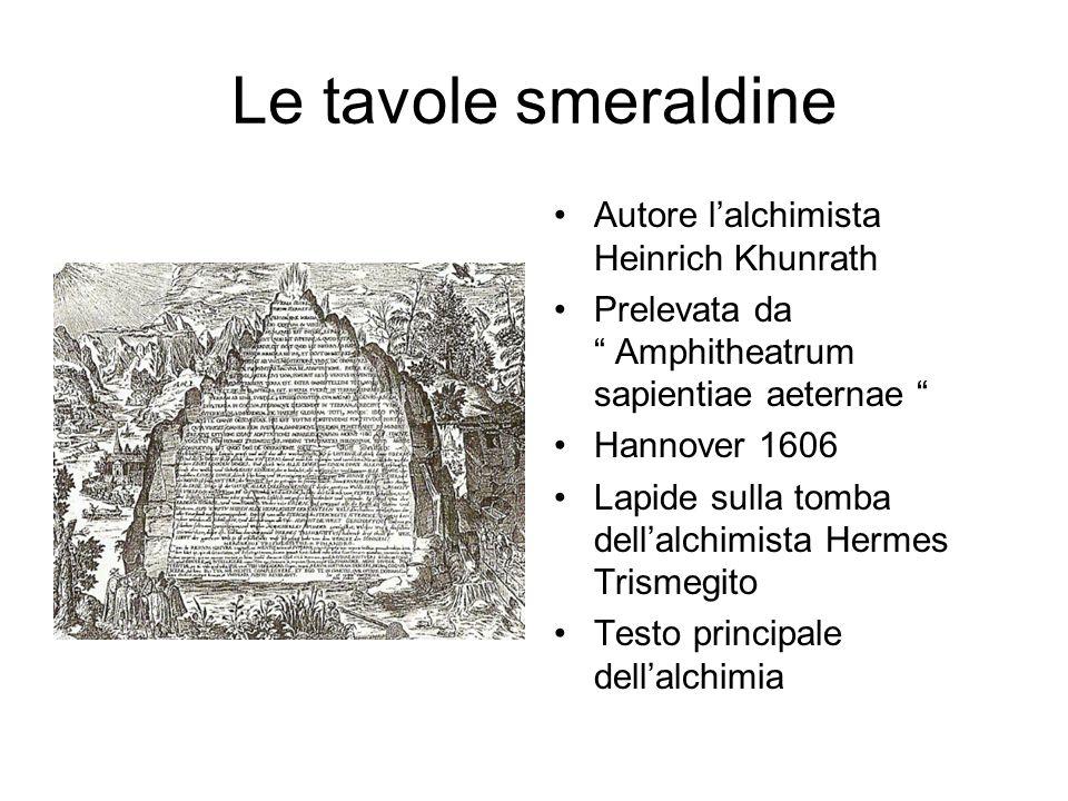 Le tavole smeraldine Autore l'alchimista Heinrich Khunrath Prelevata da Amphitheatrum sapientiae aeternae Hannover 1606 Lapide sulla tomba dell'alchimista Hermes Trismegito Testo principale dell'alchimia