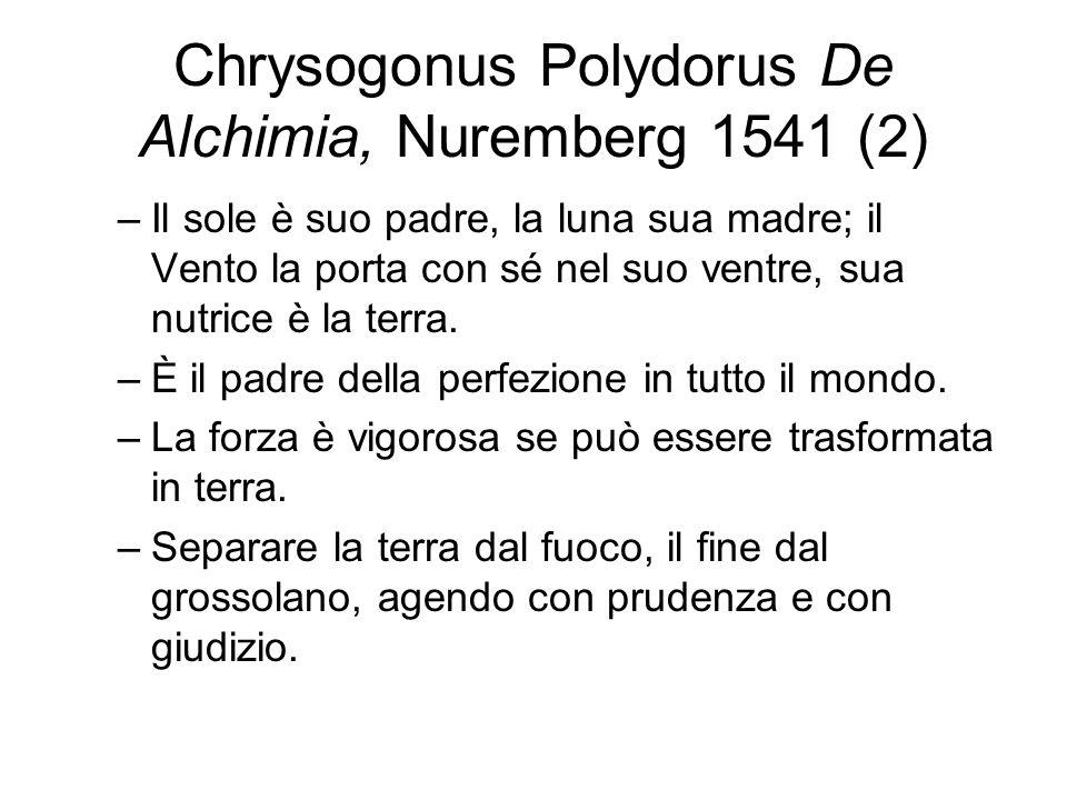 Chrysogonus Polydorus De Alchimia, Nuremberg 1541 (2) –Il sole è suo padre, la luna sua madre; il Vento la porta con sé nel suo ventre, sua nutrice è la terra.