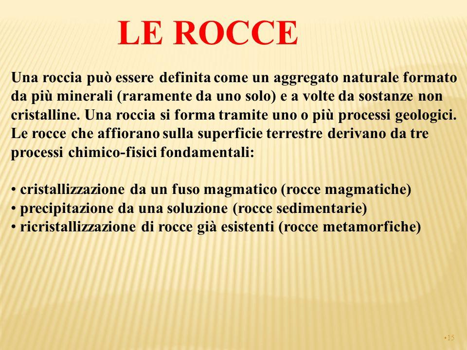 LE ROCCE Una roccia può essere definita come un aggregato naturale formato da più minerali (raramente da uno solo) e a volte da sostanze non cristalli