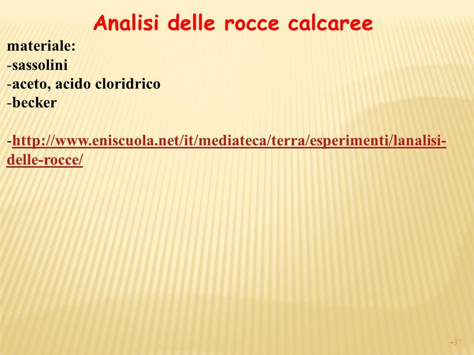37 Analisi delle rocce calcaree materiale: -sassolini -aceto, acido cloridrico -becker -http://www.eniscuola.net/it/mediateca/terra/esperimenti/lanali