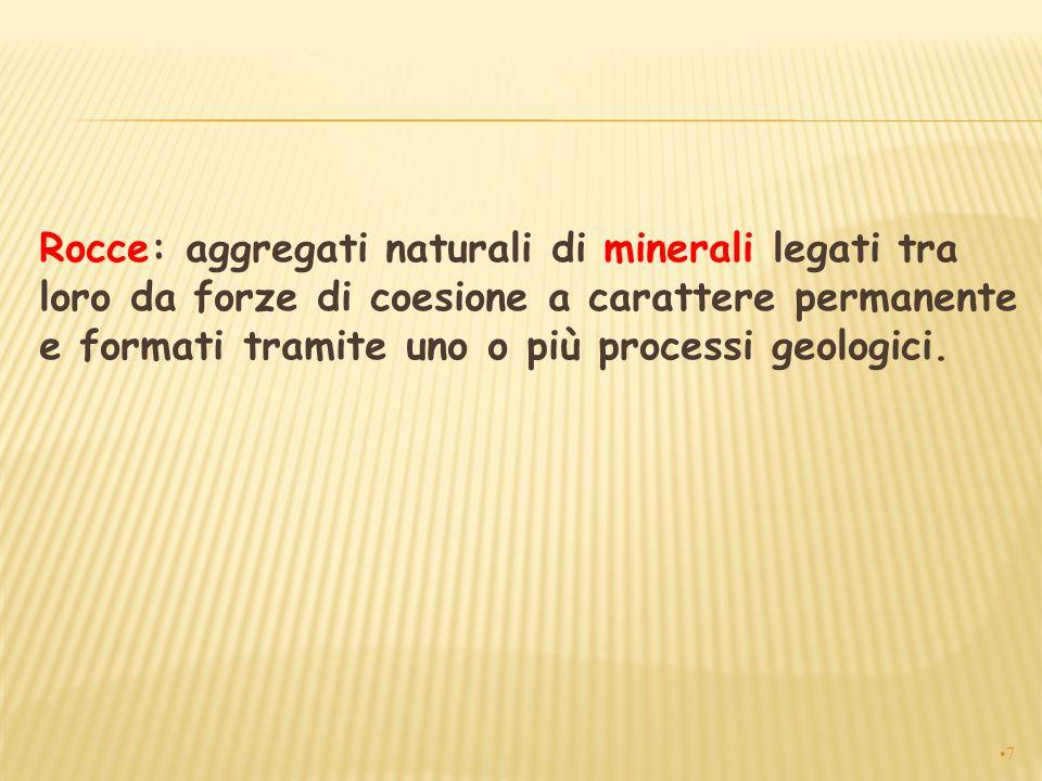 Rocce: aggregati naturali di minerali legati tra loro da forze di coesione a carattere permanente e formati tramite uno o più processi geologici. 7