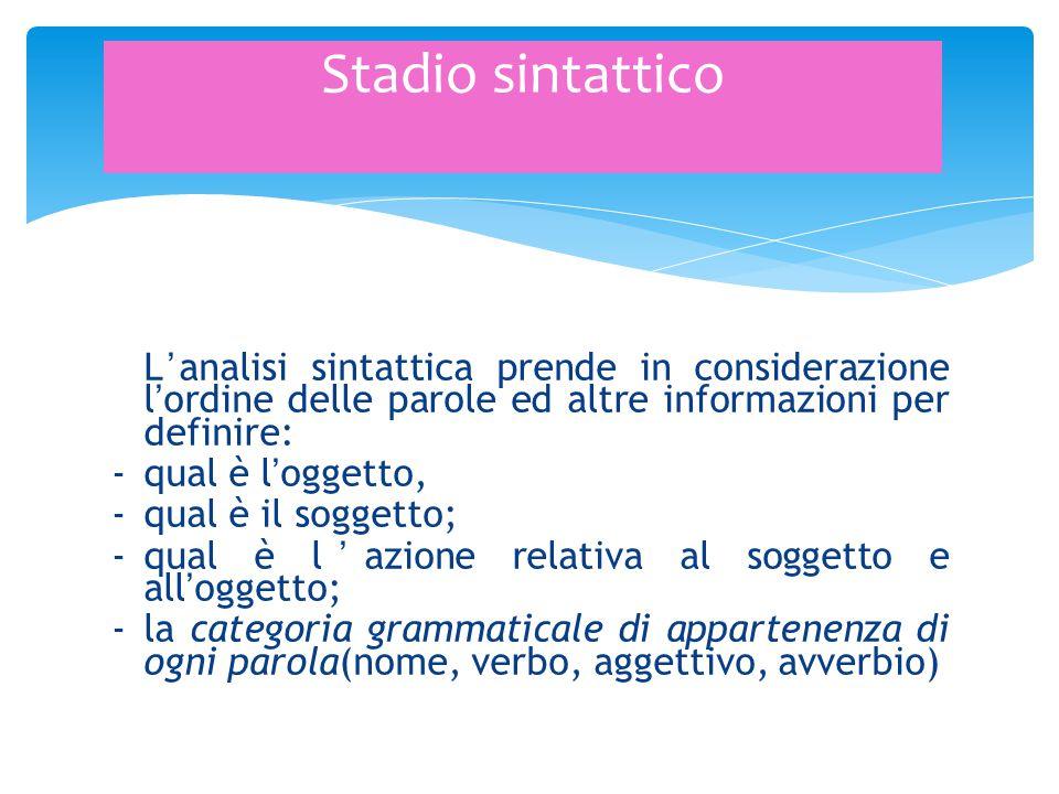 L'analisi sintattica prende in considerazione l'ordine delle parole ed altre informazioni per definire: -qual è l'oggetto, -qual è il soggetto; -qual