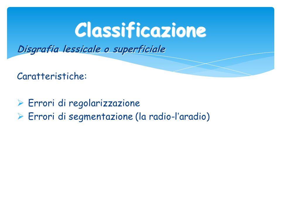 Classificazione Disgrafia lessicale o superficiale Caratteristiche:  Errori di regolarizzazione  Errori di segmentazione (la radio-l ' aradio)