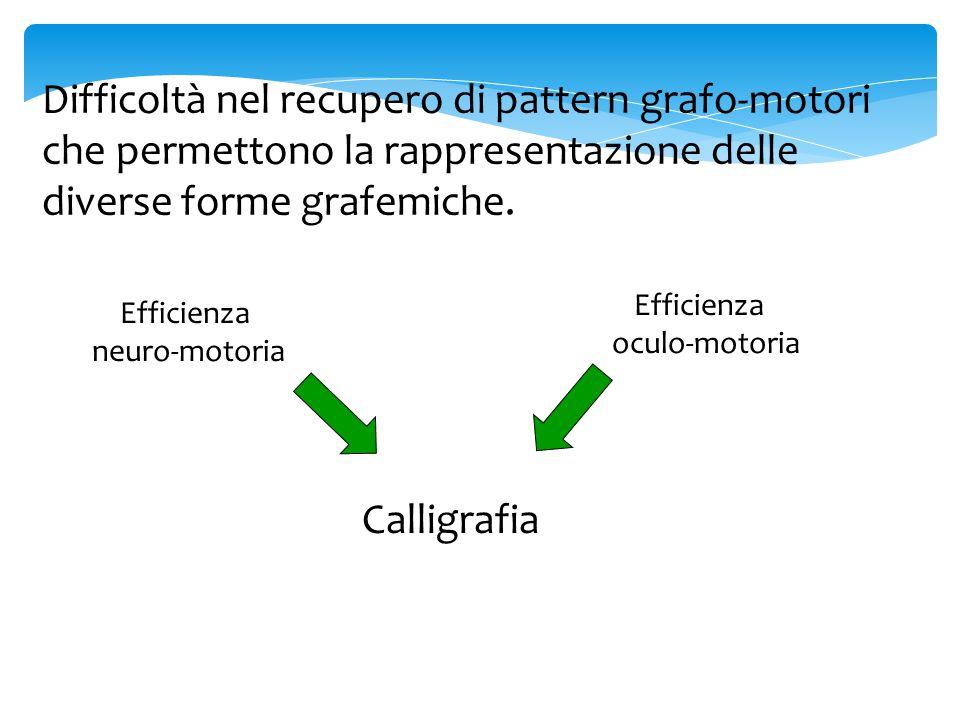Difficoltà nel recupero di pattern grafo-motori che permettono la rappresentazione delle diverse forme grafemiche. Efficienza neuro-motoria Efficienza