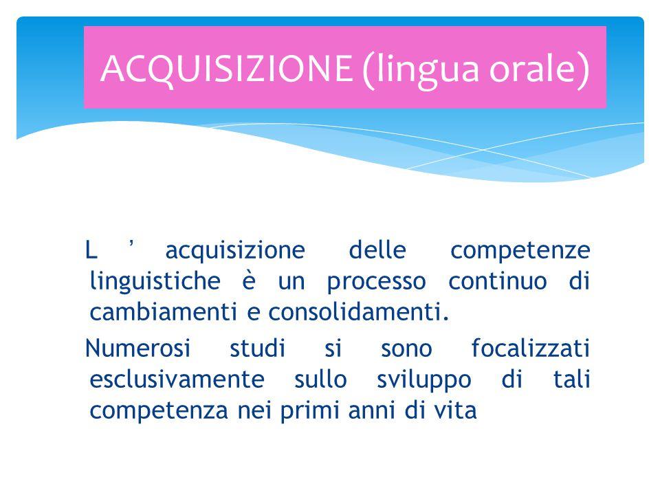 L'acquisizione delle competenze linguistiche è un processo continuo di cambiamenti e consolidamenti. Numerosi studi si sono focalizzati esclusivamente