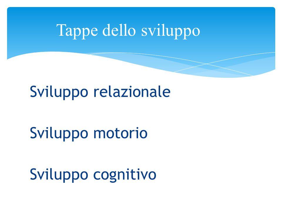 Sviluppo relazionale Sviluppo motorio Sviluppo cognitivo Tappe dello sviluppo