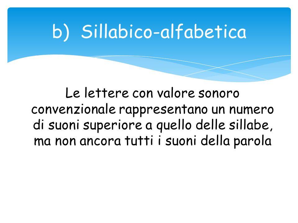 b) Sillabico-alfabetica Le lettere con valore sonoro convenzionale rappresentano un numero di suoni superiore a quello delle sillabe, ma non ancora tu