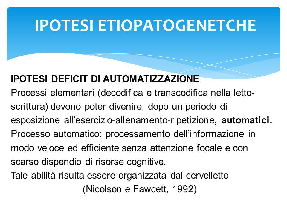 IPOTESI ETIOPATOGENETCHE IPOTESI DEFICIT DI AUTOMATIZZAZIONE Processi elementari (decodifica e transcodifica nella letto- scrittura) devono poter dive