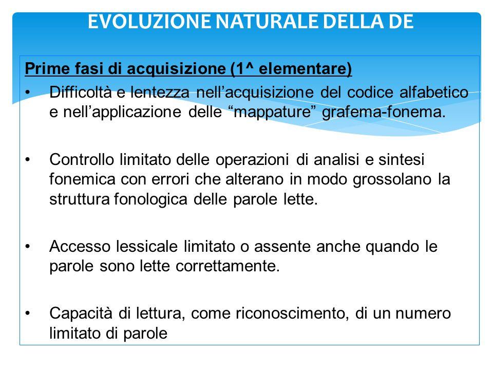 EVOLUZIONE NATURALE DELLA DE Prime fasi di acquisizione (1^ elementare) Difficoltà e lentezza nell'acquisizione del codice alfabetico e nell'applicazi