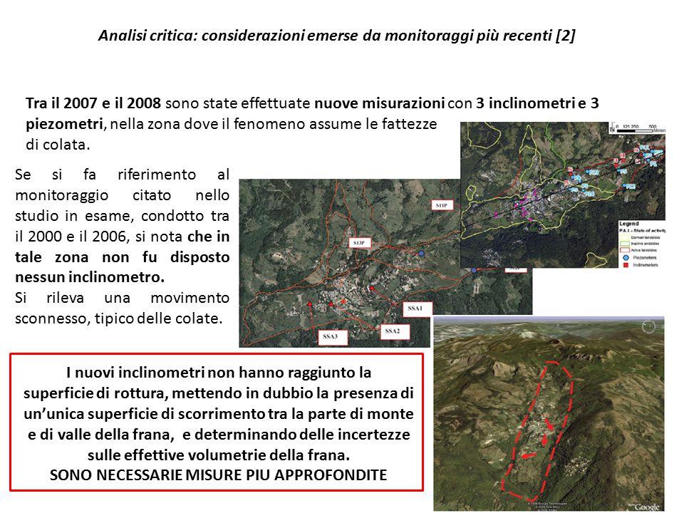 Analisi critica: considerazioni emerse da monitoraggi più recenti [2] Tra il 2007 e il 2008 sono state effettuate nuove misurazioni con 3 inclinometri