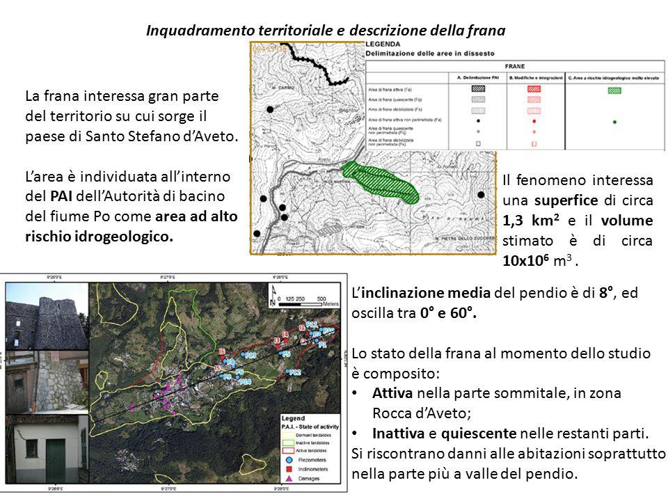 La frana interessa gran parte del territorio su cui sorge il paese di Santo Stefano d'Aveto. L'area è individuata all'interno del PAI dell'Autorità di