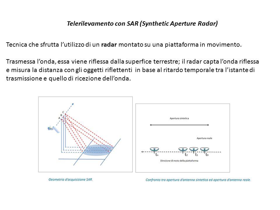 Telerilevamento con SAR (Synthetic Aperture Radar) Tecnica che sfrutta l'utilizzo di un radar montato su una piattaforma in movimento. Trasmessa l'ond