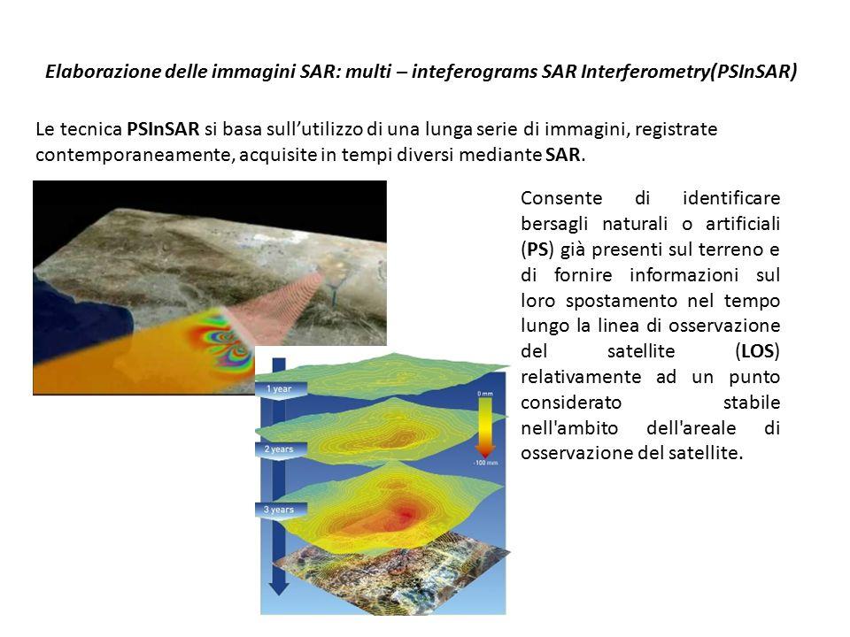 Lavoro scientifico degli autori: acquisizione dei dati SAR 2 database dal satellite ERS1/2, relativi ad un arco di tempo che va dal 1992 al 2001.
