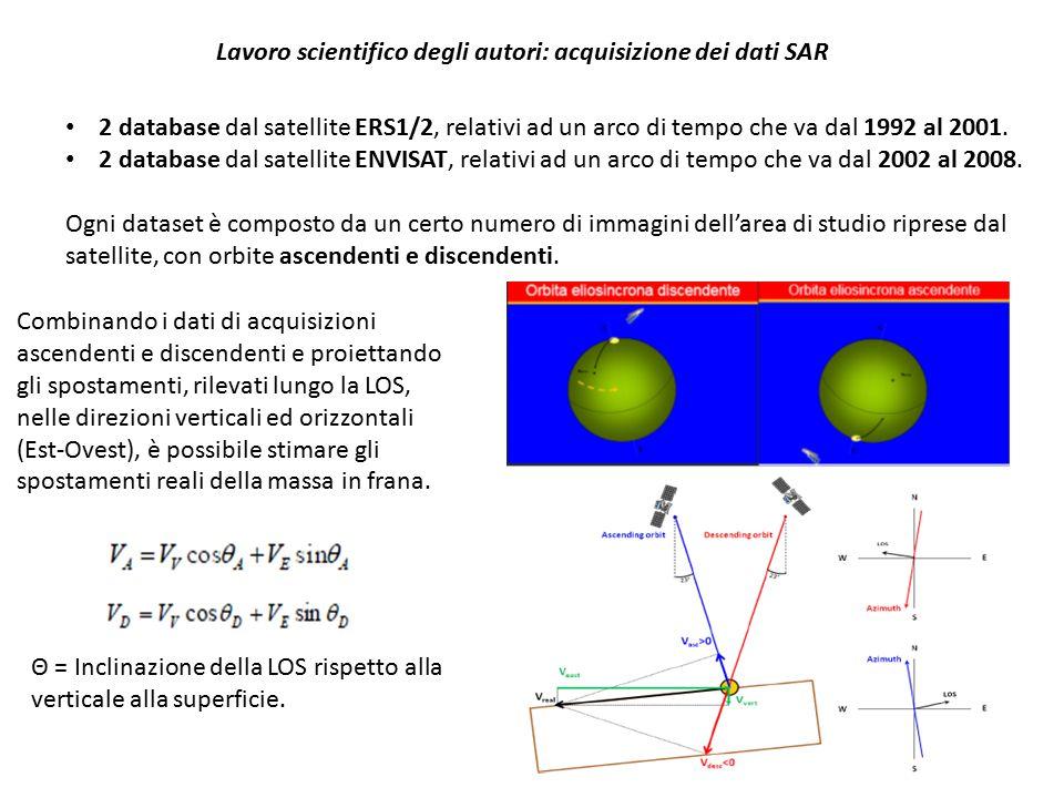 Lavoro scientifico degli autori: elaborazione dei dati In tabella si riportano il numero di obiettivi radar (PS), riguardanti l'area della frana, e le velocità di spostamento rilevate dai satelliti nelle fasi ascendenti e discendenti.