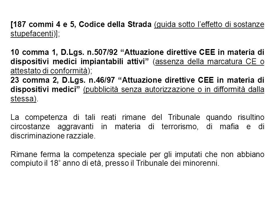 """[187 commi 4 e 5, Codice della Strada (guida sotto l'effetto di sostanze stupefacenti)]; 10 comma 1, D.Lgs. n.507/92 """"Attuazione direttive CEE in mate"""
