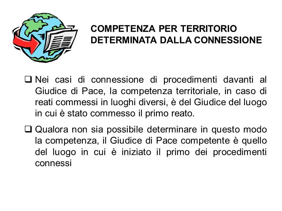  Nei casi di connessione di procedimenti davanti al Giudice di Pace, la competenza territoriale, in caso di reati commessi in luoghi diversi, è del G
