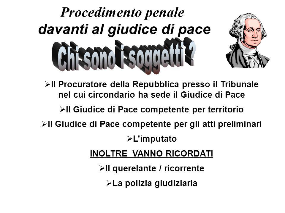 Procedimento penale davanti al giudice di pace  Il Procuratore della Repubblica presso il Tribunale nel cui circondario ha sede il Giudice di Pace 