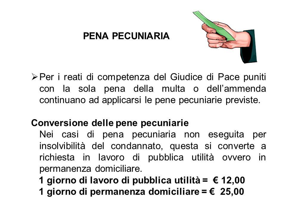 PENA PECUNIARIA  Per i reati di competenza del Giudice di Pace puniti con la sola pena della multa o dell'ammenda continuano ad applicarsi le pene pe